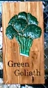 Garden plaque with Green Goliath Broccoli