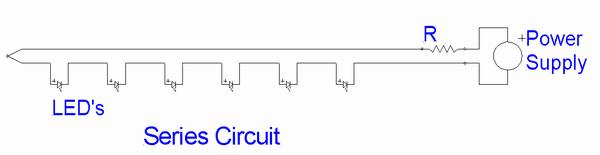 Sketch of of a circuit with six LED's in series