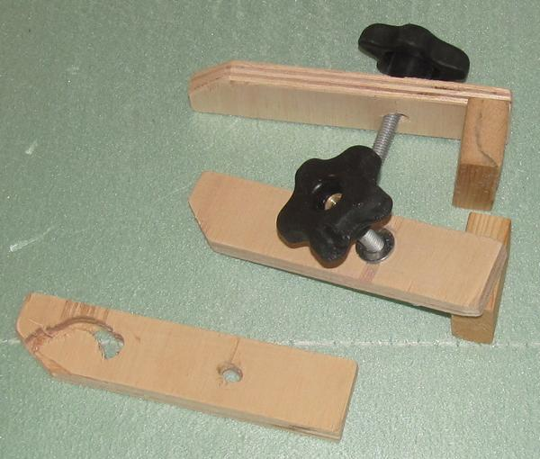 Photo of wooden clamps for CNC Piranha