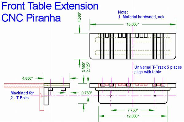 Sketch of Front Table Extension for CNC Piranha