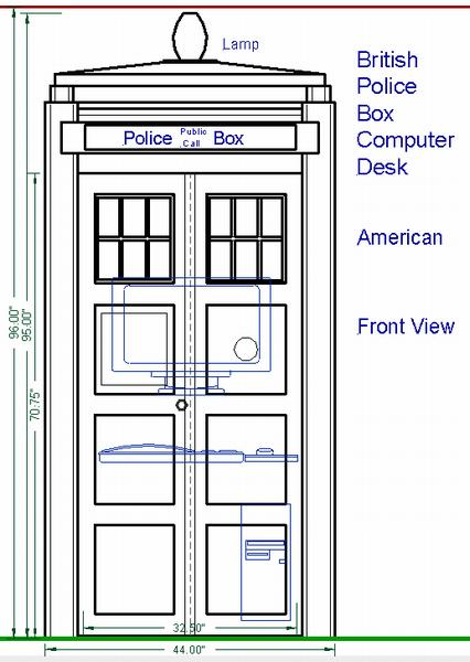 British Police Box Computer Desk, front view with doors closed