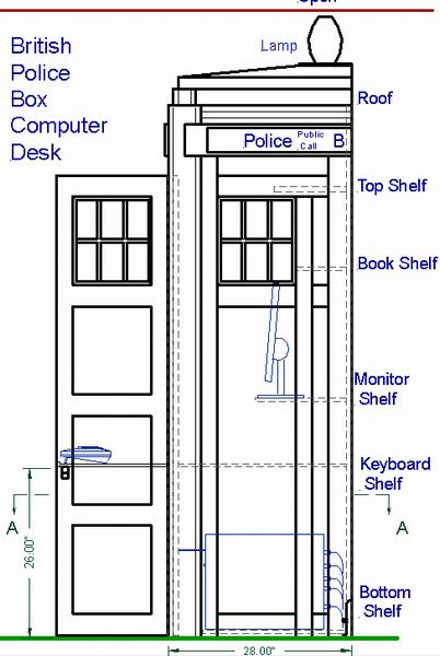 British Police Box Computer Desk, side view with doors open